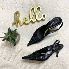 Dolce & Gabbana black leather pointed toe sling back heels EU 40 US 10
