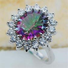 1Pc/set Women 925 Silver Multicolor Zircon New Rings Birthday Jewelry Size 7