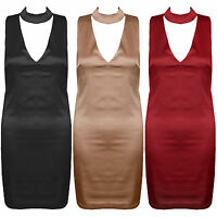 New Satin Cut Out Plunge V Neck Choker Collar Bodycon Stretch Party Dress