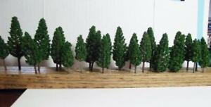 """N Scale Dk Green Pine Tree Pack 30 Pcs Total 10 of Each  2 9/16"""", 2 1/4"""", 1 7/8"""""""
