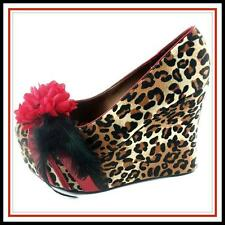 BETTIE PAGE Edna 40s WEDGE 9.5 LEOPARD ROCKABILLY BOMBSHELL glam HEELS NEW shoe
