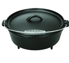 Cast Iron Pot Dutch Oven 5-Quart with Handle Classic Camping Cookware