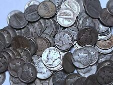90% Silver Mercury Dimes - Roll of 50 - $5 Face 90% Silver Free Shipping!