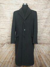Vintage Teller Cashmere Coat Mens Size 42 Long Overcoat Gray Black