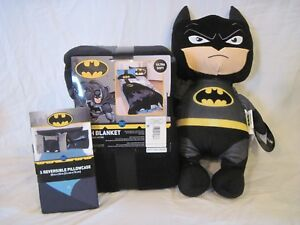 Batman Plush Throw Blanket, Pillowcase Knight Hero, and Pillow Pal Power Punch