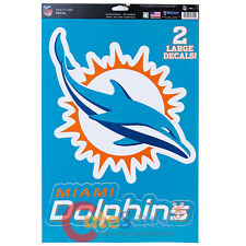 "NFL Miami Dolphins Window Clings Decal Big 2 Logo on 11""x17"" Auto Accessories"