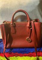 Michael Kors Merlot Bright Red Pebble Grain Leather Snap Zip Carryall Satchel
