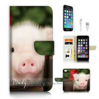 ( For iPhone 7 ) Wallet Case Cover P4161 Cute Pig