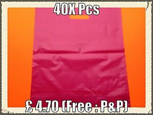 """Plastic Carrier Bags Heavy Duty In Pink (40x Pieces) 15""""x18""""x3"""""""