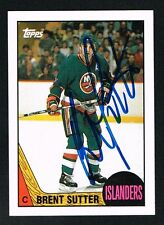 Brent Sutter #27 signed autograph auto 1987-88 Topps Hockey Trading Card