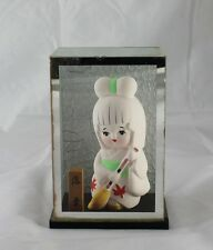 Vintage Japanese White Kimono Hakata Ceramic Girl Doll Broom Sealed Display Case