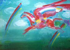 "PETER MAX Signed 1981 Original Color Lithograph - ""Bluegrass Pegasus"""