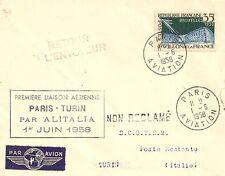 LETTRE PAR AVION PREMIERE LIAISON AERIENNE PARIS POUR TURIN ITALIE 1958