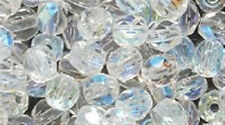 4mm Clear Crystal AB Faceted Round Fire Polished Czech Glass Beads 100 Preciosa