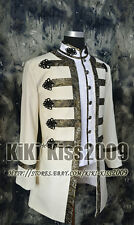 Military Uniform Victorian Frog White/Cream Noble Wool Suit Jacket Custom-made