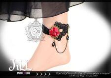Goth Aristocrat visual moulin rouge Love rose charm lace anklet AL7123