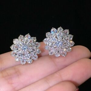 Gorgeous Snowflake Cubic Zircon Stud Earrings Silver Wedding Jewelry Women Gift