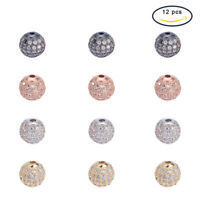 12pcs 8mm Round Brass Micro Pave Cubic Zirconia Beads Bracelet Jewelry Making