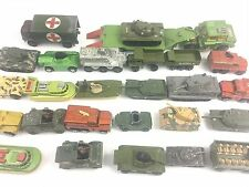 DINKY MATCHBOX CORGI LOT 26 MILITARY VEHICLES TANKS TRUCKS BOAT HOVERCRAFT VTG