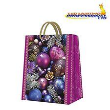 Christmas Printed Paper Gift Present Bag VIOLET COMPOSITION Medium Baubles Pink