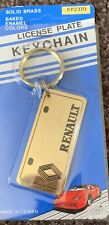 Vtg Retro 1980's RENAULT license plate keychain solid brass NOS By Baron
