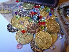 Caribbean Pirate Treasure Chest Including 30 Gold Metal Pirate Coins and More!