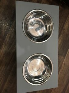 Modern Dog Bowls Double Diner Food Water Raised Feeding Dishes 18cm Large Bowl