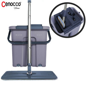 Self Cleaning Flat Mop Bucket with 2 Reusable Microfiber Mop Pads/7849+5896