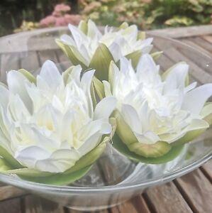 3 x  Seerosen Schwimmblüten Weiß Rosen Schwimmrosen Schwimmblumen Seidenblüten