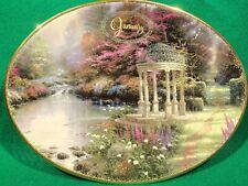 "Thomas Kinkade Oval Plate, 7½"" X 5¾"". January- ""The Garden of Prayer"" ©2001 Vgc"