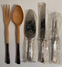 Vintage Silver 5 Pc Set-Cake/ Pie Server, Knife & Fork+ Silver & Wood Salad Set