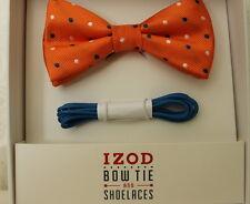 IZOD Men's Orange Polka Dot  Bow Tie  & Shoe Laces Set Fast SHIPPING!! NEW LQQK!
