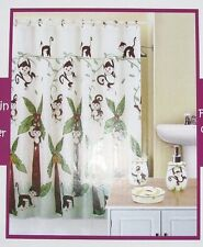 5 Pc Kids Bath Brown+White Monkey Shower Curtain,Rings+Dispenser+T oothbrush+Dish