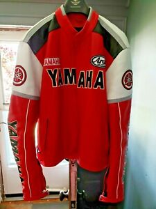 Motorcycle Jacket Top Quality Red Leather Yamaha Professional Racing Men's