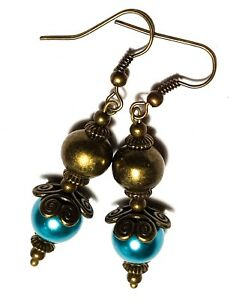 Long Bronze Teal Pearl Earrings Drop Dangle Glass Bead Gypsy Chic Hippy Boho