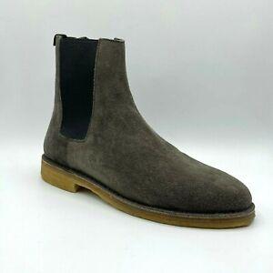 $795 Saint Laurent Men Grey Suede Nevada 20 Chelsea Ankle Boot 41 442376 2853