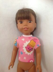Fits Wellie Wishers pink Shopkins Lippy Poppy Cookie t-shirt 14 doll clothes