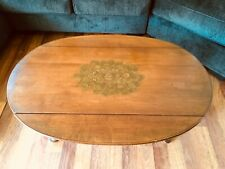 Vintage HITCHCOCK Solid Maple Wood Gold Stencilled Drop Leaf Coffee Table