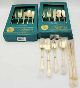 """Vintage STANLEY ROBERTS 24K Gold Plated Flatware 40 PC Gold Precious Rose """"New"""""""