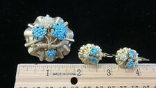 Important Victorian Ladys Earrings+Brooch Set~15K Gold~Turquoise+Seed Pearls~WOW