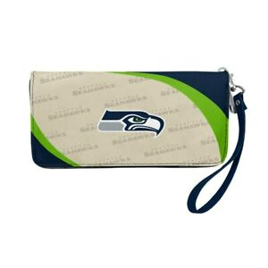 Seattle Seahawks Ladies Women's Curved Zipped Wallet Organizer Shell NWT