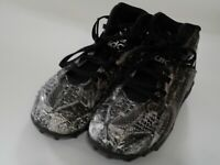 Adidas Boys Girls Black White Athletic Shoes Size 2 Cleats Laces