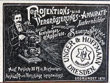 Projektions-Apparate Laterna Magica Unger & Hoffmann Dresden Werbung 1904
