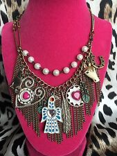 Betsey Johnson Vintage Indian Summer Coyote Eagle Feather Horseshoe Necklace
