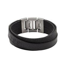 Herren-Armband JF84818040 Leder Edelstahl Vintage Schwarz Silber 19,5 cm