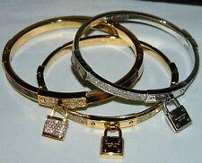 MICHAEL KORS Crystal Pave Logo Padlock Bangle Bracelets Lot of 3 EUC $375