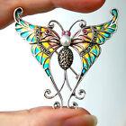 #P449 Pendentif Broche Papillon Argent Massif 925 Perle Rubis & Email