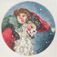 "Needlepoint Handpainted Christmas JOY JUAREZ Father Christmas and Tiny Tim 6"""