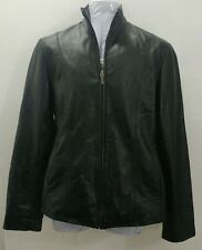 Women's George black 100% genuine leather coat jacket. Small. Pre-owned