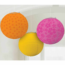 3 Assorted Tropical Warm Hawaiian Party Paper Ball Globe Lantern Decorations